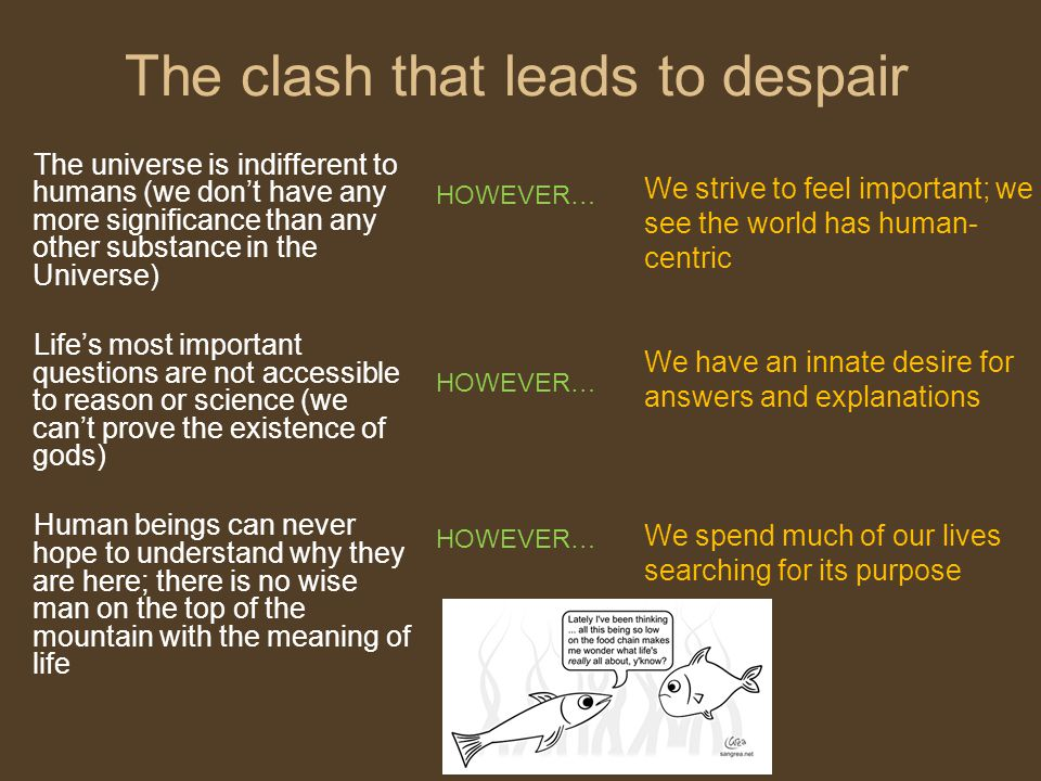 The clash that leads to despair The universe is indifferent to humans (we don't have any more significance than any other substance in the Universe) L
