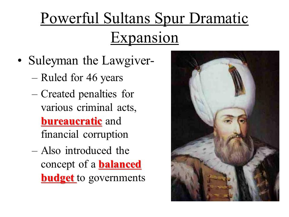 Powerful Sultans Spur Dramatic Expansion Suleyman the Lawgiver- –Ruled for 46 years bureaucratic –Created penalties for various criminal acts, bureauc