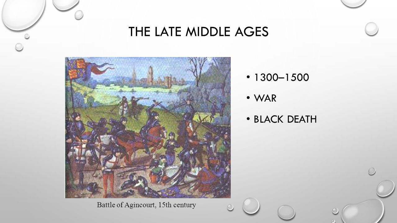 THE LATE MIDDLE AGES 1300–1500 WAR BLACK DEATH Battle of Agincourt, 15th century