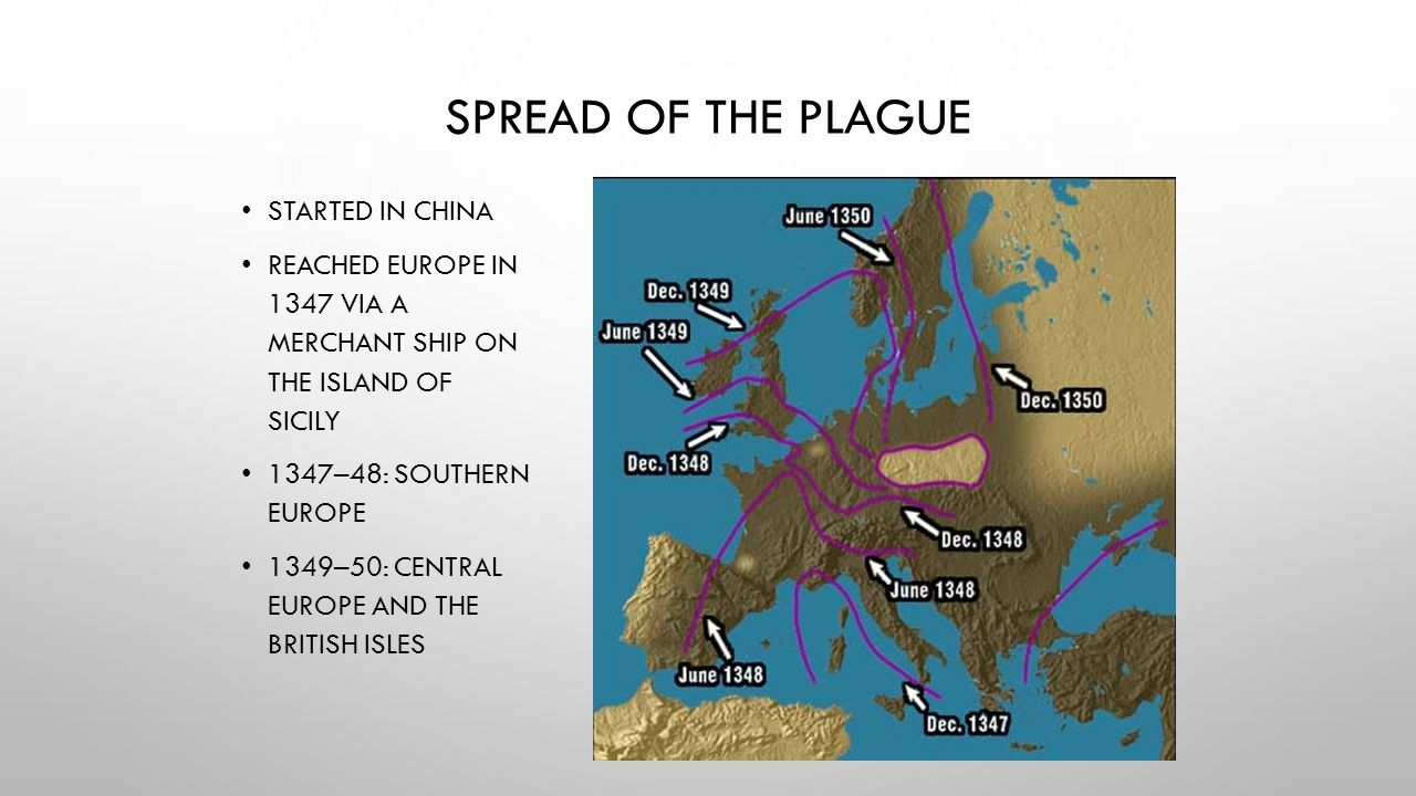 SPREAD OF THE PLAGUE STARTED IN CHINA REACHED EUROPE IN 1347 VIA A MERCHANT SHIP ON THE ISLAND OF SICILY 1347–48: SOUTHERN EUROPE 1349–50: CENTRAL EUR
