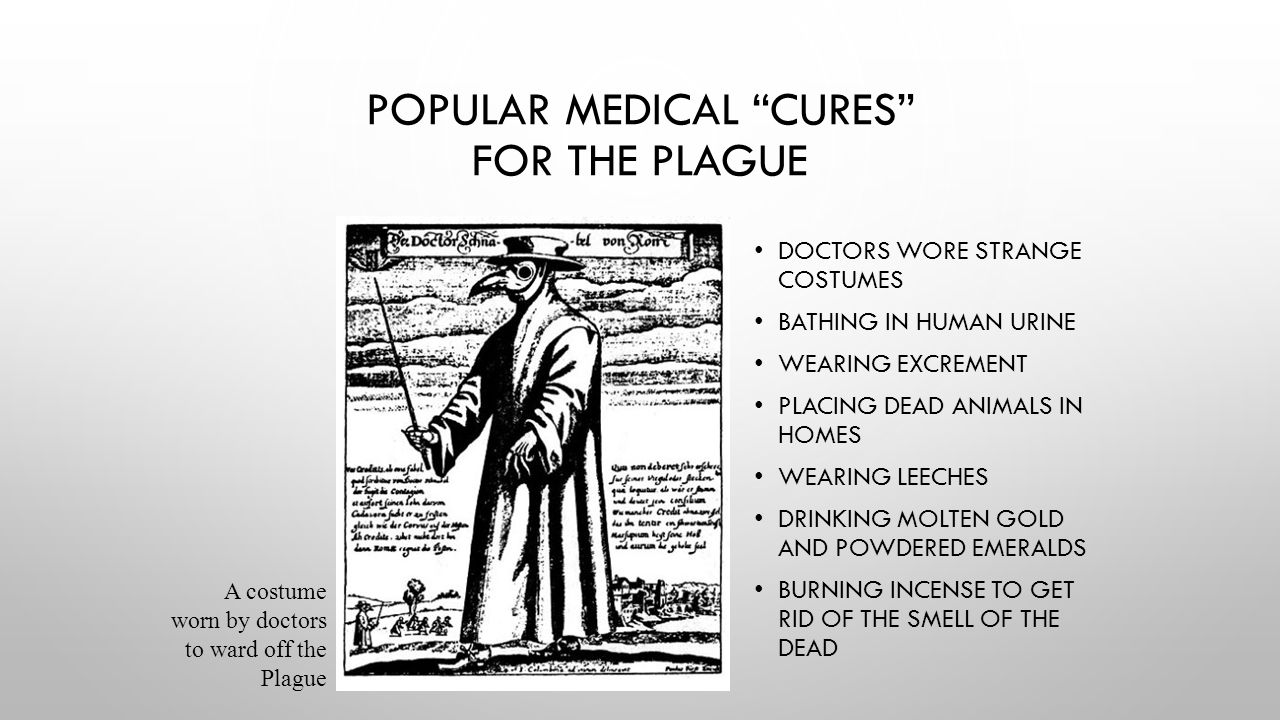 """POPULAR MEDICAL """"CURES"""" FOR THE PLAGUE DOCTORS WORE STRANGE COSTUMES BATHING IN HUMAN URINE WEARING EXCREMENT PLACING DEAD ANIMALS IN HOMES WEARING LE"""