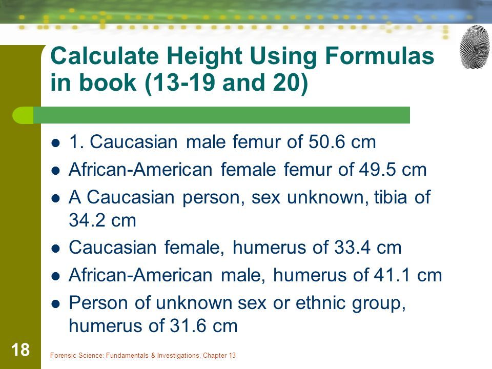 Calculate Height Using Formulas in book (13-19 and 20) 1.