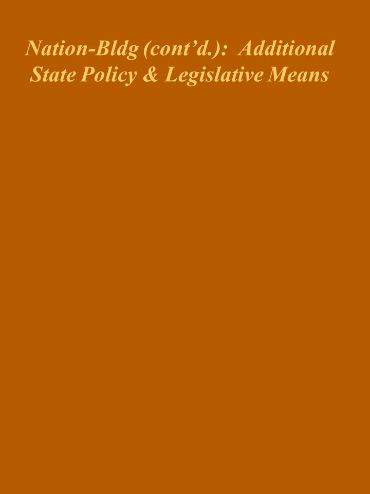 Policy & Legislative Means Used by The State to Promote Ntl Integration Unity Bill/Clarity Act, 2001 National Energy Policy, 1980 Constitution Act, 19