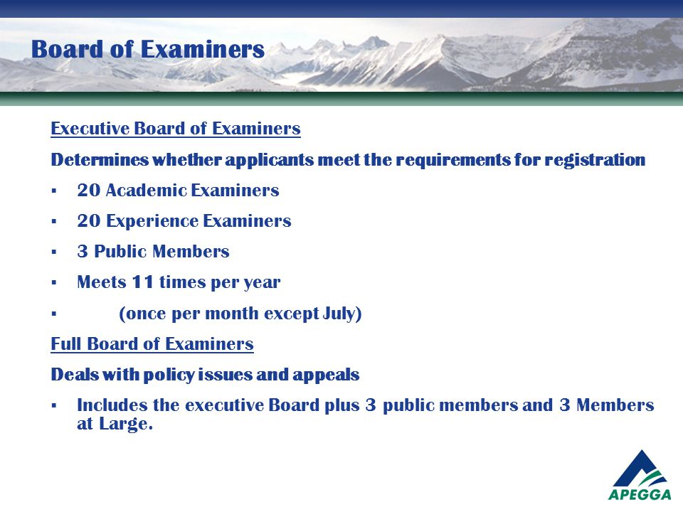 Board of Examiners Executive Board of Examiners Determines whether applicants meet the requirements for registration  20 Academic Examiners  20 Expe