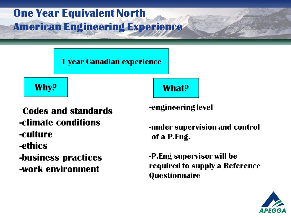 One Year Equivalent North American Engineering Experience 1 year Canadian experience Why? What? - Codes and standards -climate conditions -culture -et