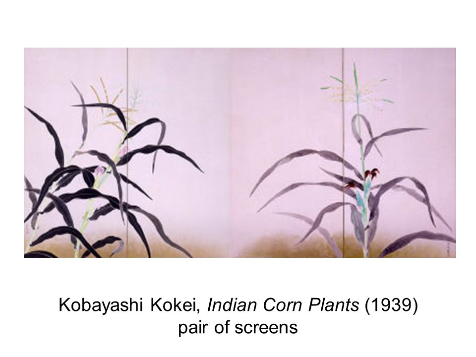Kobayashi Kokei, Indian Corn Plants (1939) pair of screens