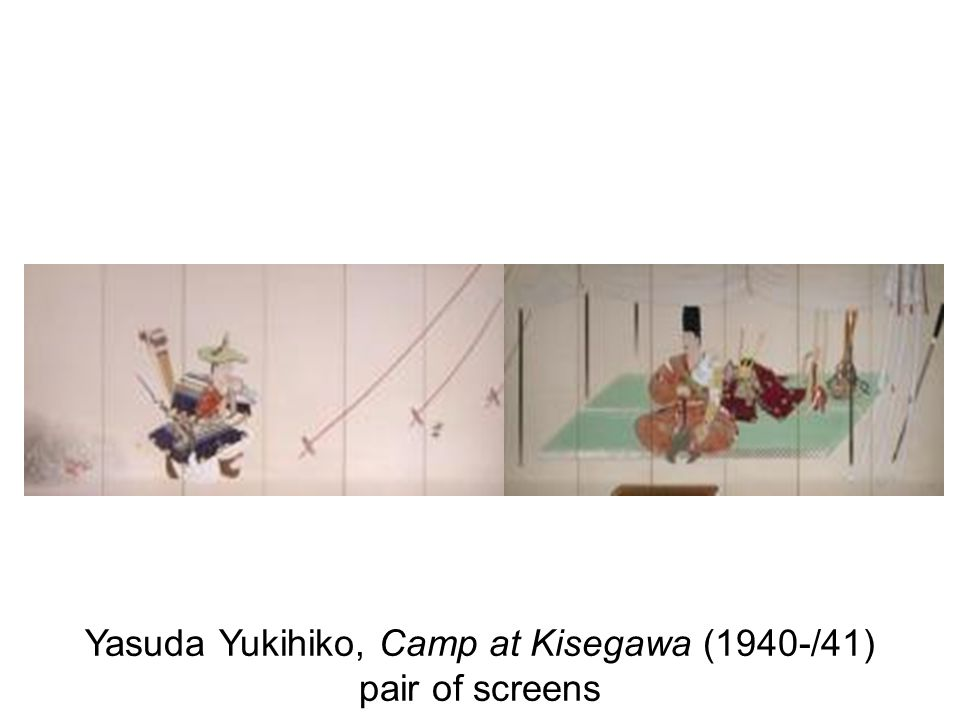 Yasuda Yukihiko, Camp at Kisegawa (1940-/41) pair of screens
