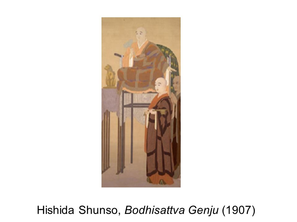 Shunso in Bodhisattva Genju painted in a pointillist style, without employing lines.