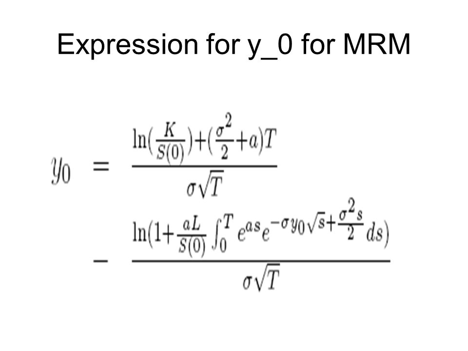 Expression for y_0 for MRM