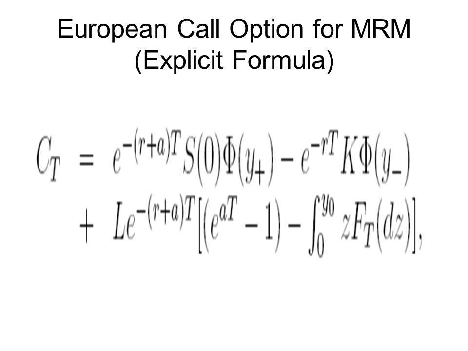 European Call Option for MRM (Explicit Formula)