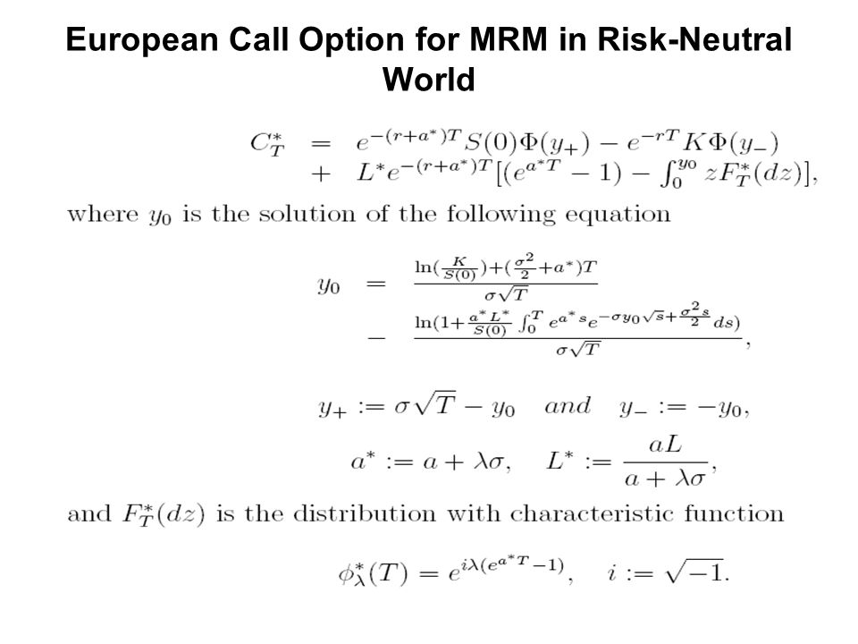 European Call Option for MRM in Risk-Neutral World