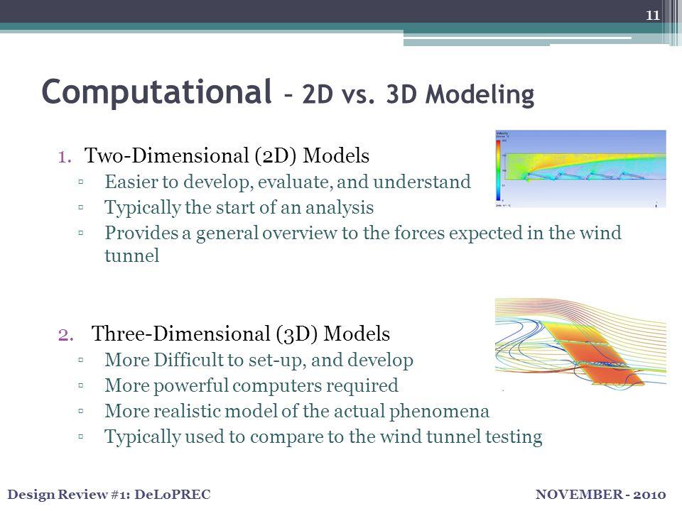 NOVEMBER - 2010Design Review #1: DeLoPREC 11 Computational – 2D vs.