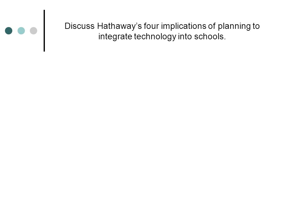 Discuss Hathaway's four implications of planning to integrate technology into schools.