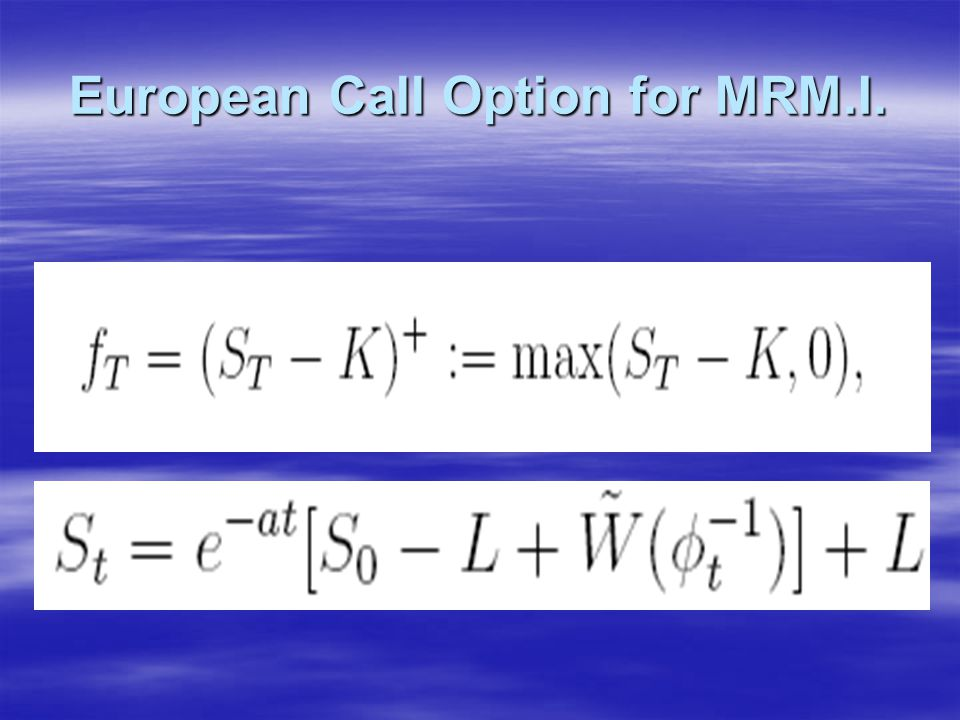 European Call Option for MRM.I.