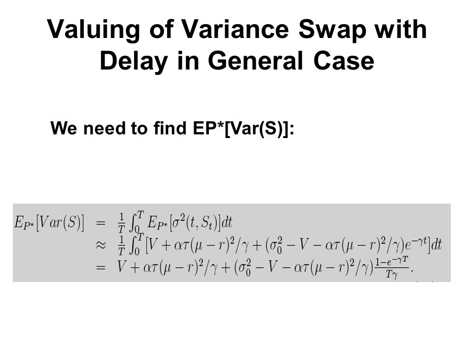 Valuing of Variance Swap with Delay in General Case We need to find EP*[Var(S)]: