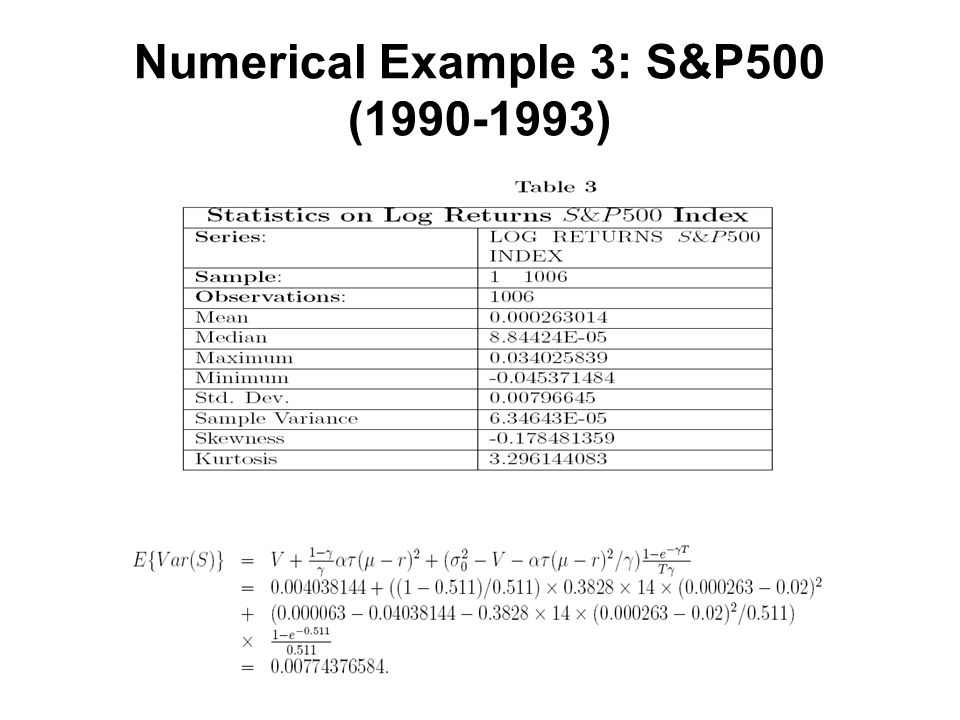 Numerical Example 3: S&P500 (1990-1993)