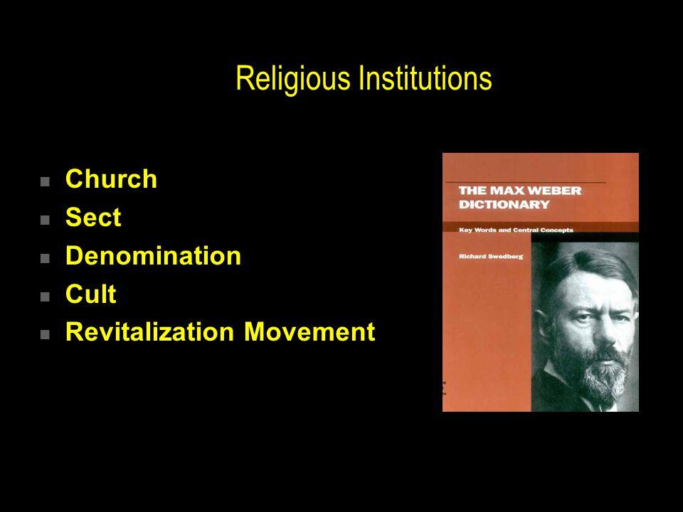 Religious Institutions Church Sect Denomination Cult Revitalization Movement