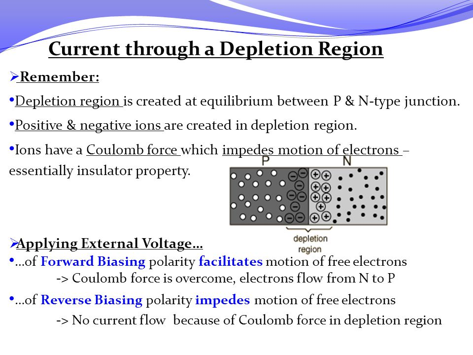 Current through a Depletion Region  Remember: Depletion region is created at equilibrium between P & N-type junction. Positive & negative ions are cr
