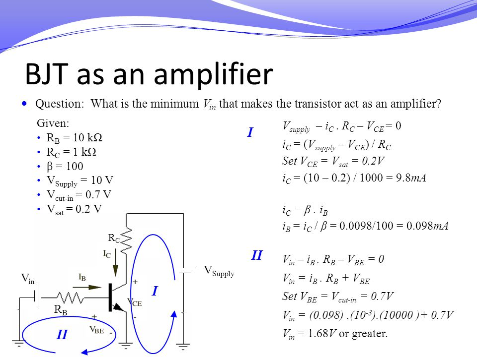 V Supply V in RBRB RCRC BJT as an amplifier Question: What is the minimum V in that makes the transistor act as an amplifier? Given: R B = 10 kΩ R C =