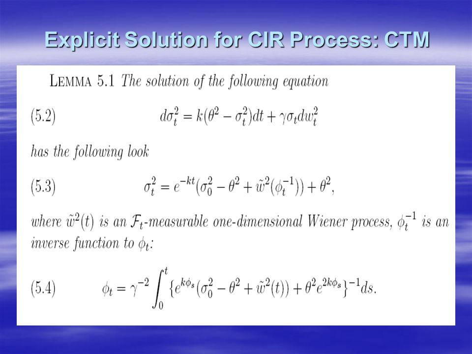 Explicit Solution for CIR Process: CTM