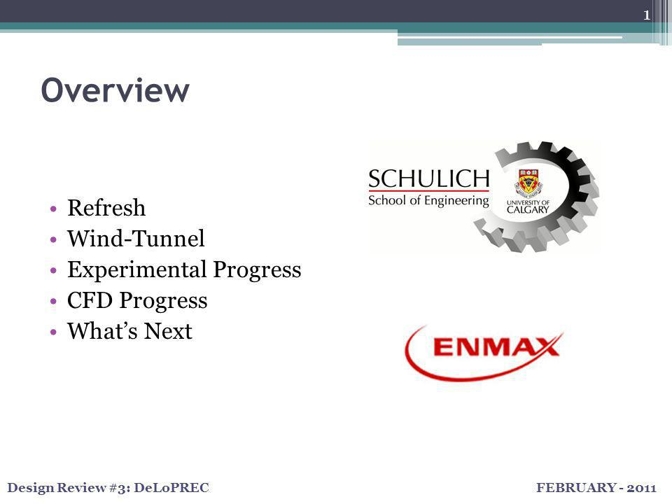 FEBRUARY - 2011Design Review #3: DeLoPREC Overview Refresh Wind-Tunnel Experimental Progress CFD Progress What's Next 1