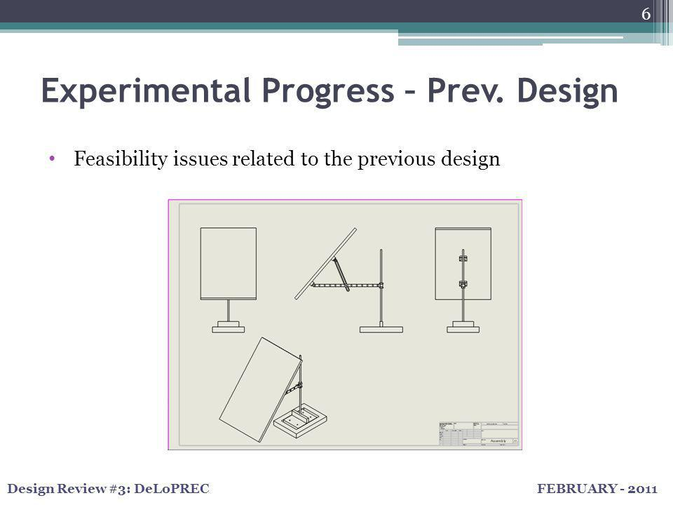 FEBRUARY - 2011Design Review #3: DeLoPREC Experimental Progress – Prev. Design 6 Feasibility issues related to the previous design