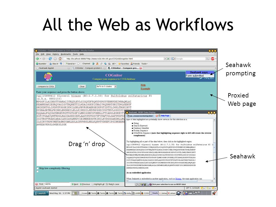 All the Web as Workflows Seahawk Proxied Web page Drag 'n' drop Seahawk prompting