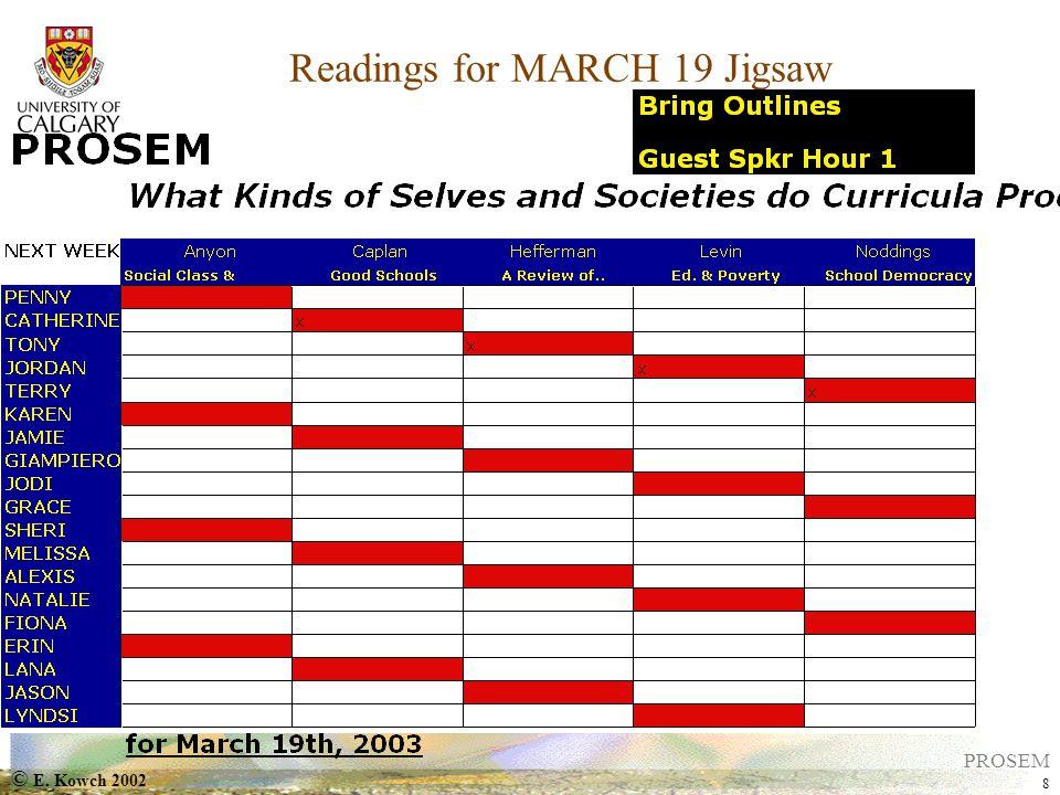 © E. Kowch 2002 8 PROSEM Readings for MARCH 19 Jigsaw