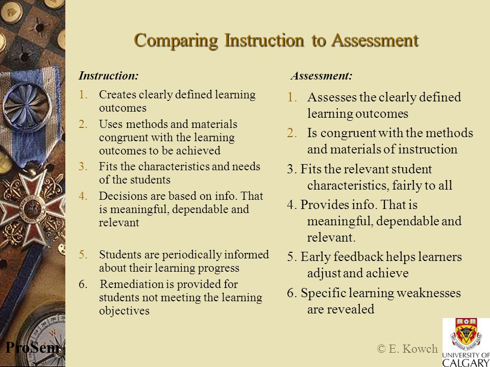© E. Kowch ProSem Comparing Instruction to Assessment 1.Creates clearly defined learning outcomes 2.Uses methods and materials congruent with the lear