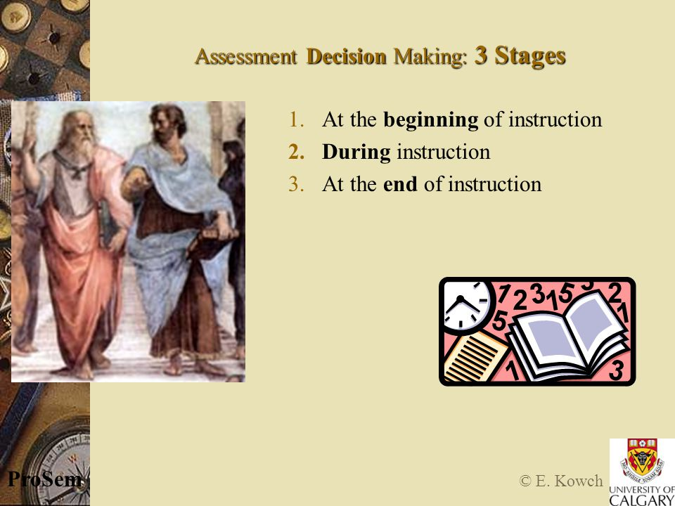 © E. Kowch ProSem Assessment Decision Making: 3 Stages 1.At the beginning of instruction 2.During instruction 3.At the end of instruction