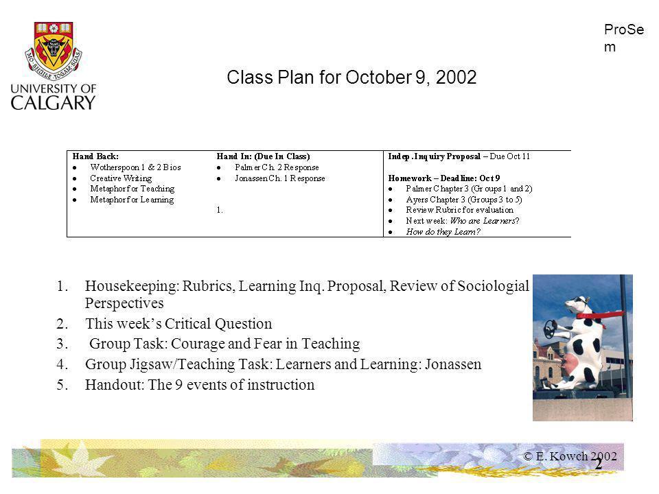 © E.Kowch 2002 ProSe m 3 Housekeeping: - Rubrics proposal - vet for next class -Interp.
