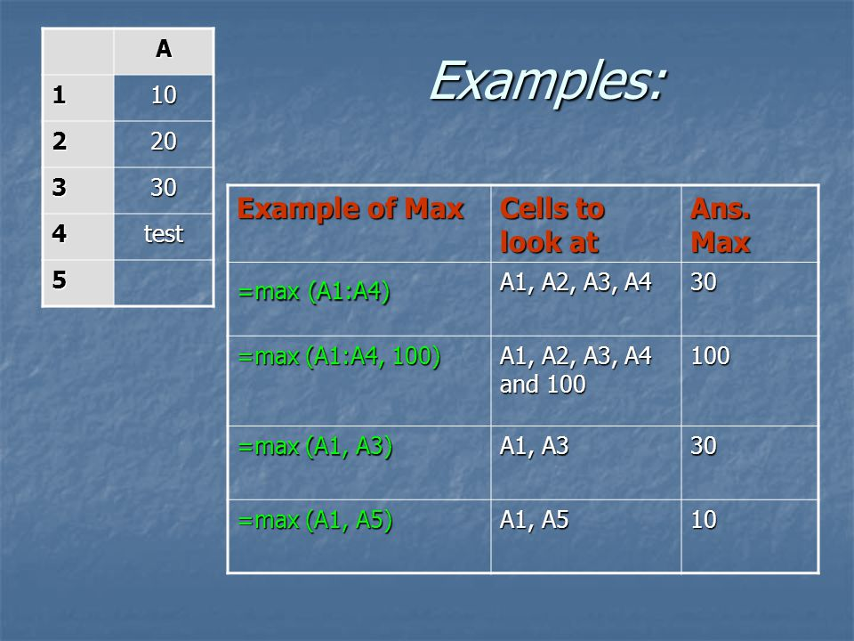 Example of Max Cells to look at Ans.