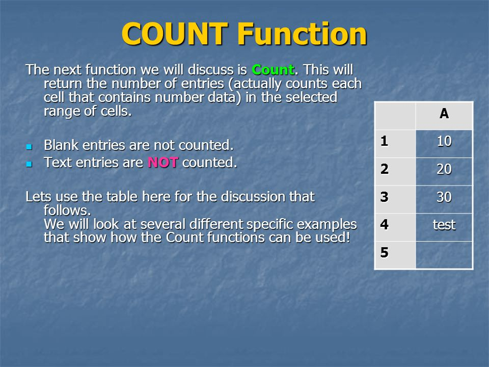 COUNT Function The next function we will discuss is Count.
