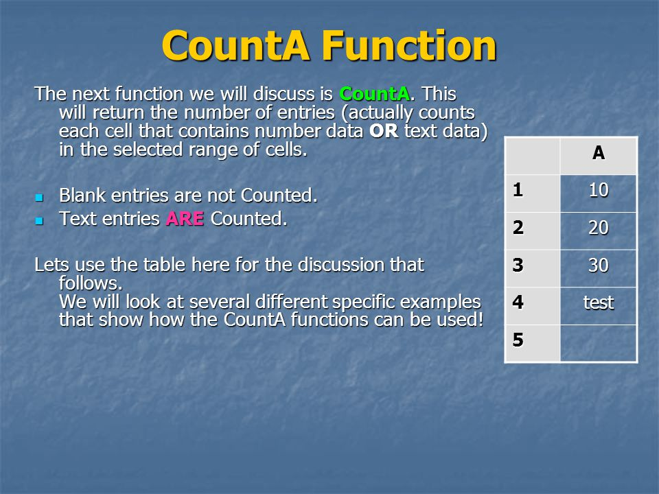 CountA Function The next function we will discuss is CountA.