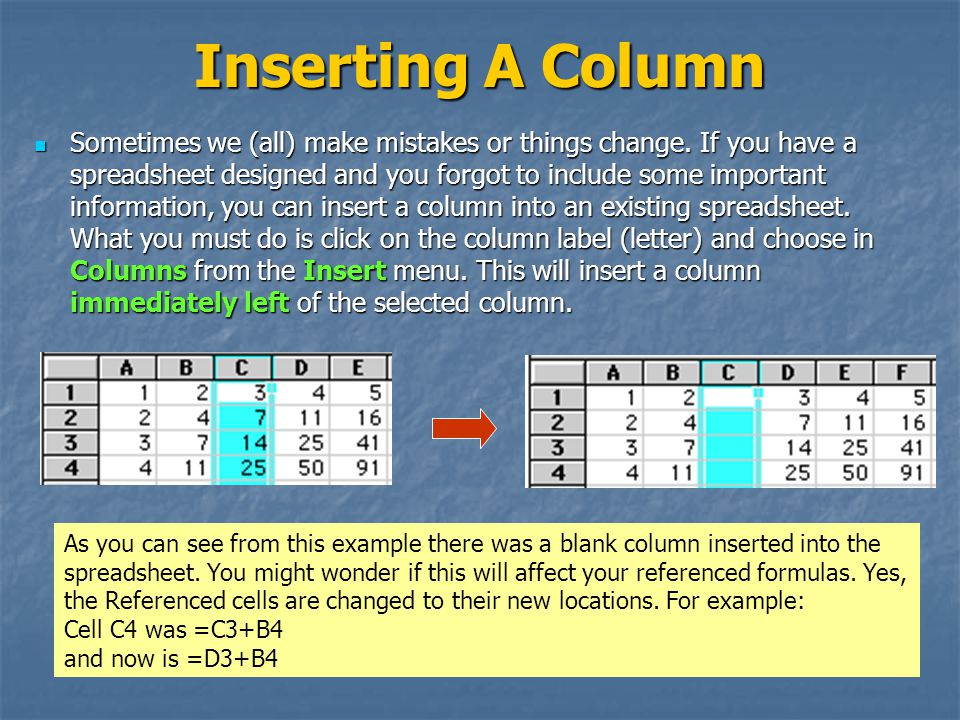 Inserting A Column Sometimes we (all) make mistakes or things change.