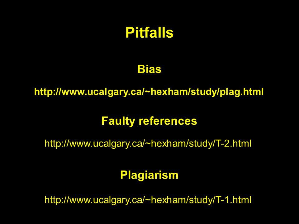 Pitfalls http://www.ucalgary.ca/~hexham/study/plag.html http://www.ucalgary.ca/~hexham/study/T-2.html http://www.ucalgary.ca/~hexham/study/T-1.html Bias Faulty references Plagiarism