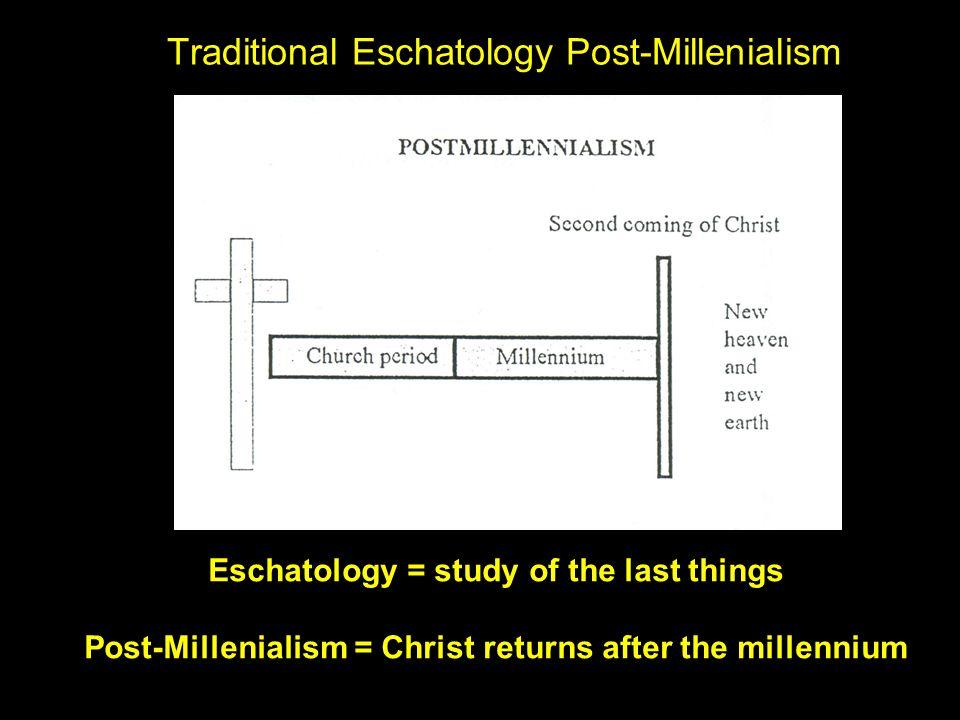 Traditional Eschatology Post-Millenialism Eschatology = study of the last things Post-Millenialism = Christ returns after the millennium