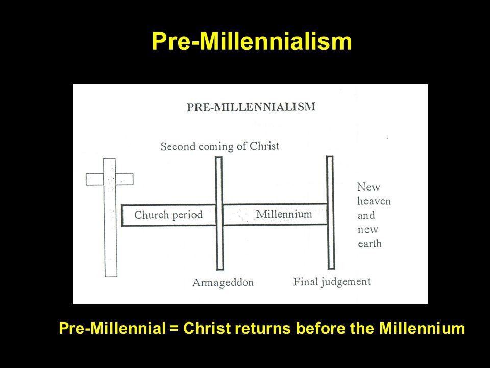 Pre-Millennialism Pre-Millennial = Christ returns before the Millennium