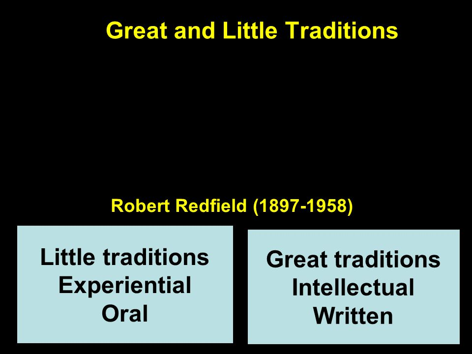 Great and Little Traditions II Great tradition Catholicism Little tradition African religion