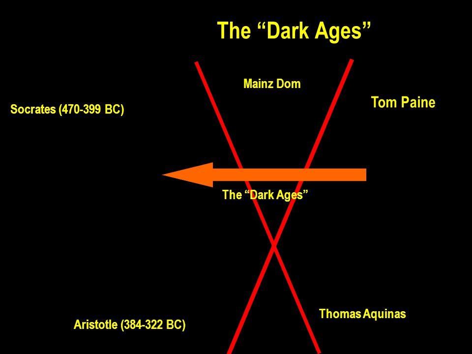 The Dark Ages Tom Paine Thomas Aquinas Mainz Dom Socrates (470-399 BC) Aristotle (384-322 BC)
