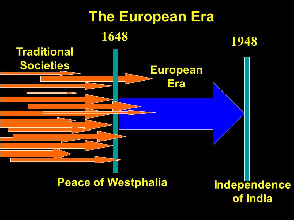 The European Era Traditional Societies Peace of Westphalia European Era Independence of India 1948 1648