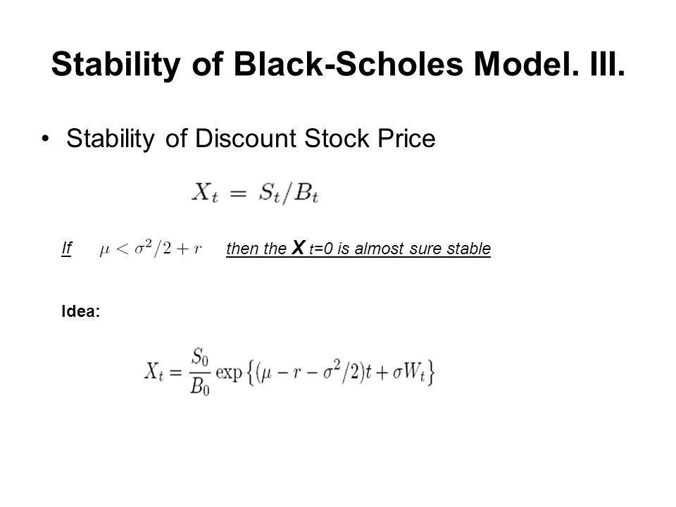 Stability of Black-Scholes Model. III.