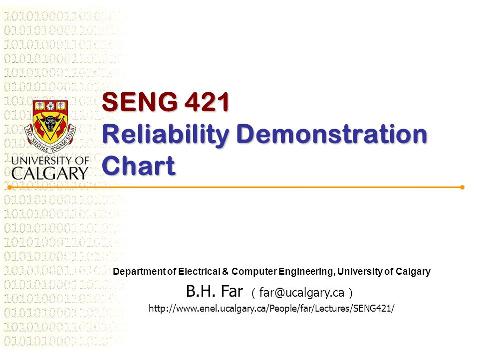 SENG 421 Reliability Demonstration Chart Department of Electrical & Computer Engineering, University of Calgary B.H.