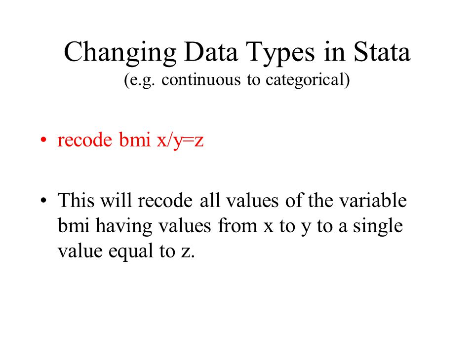 Changing Data Types in Stata (e.g.