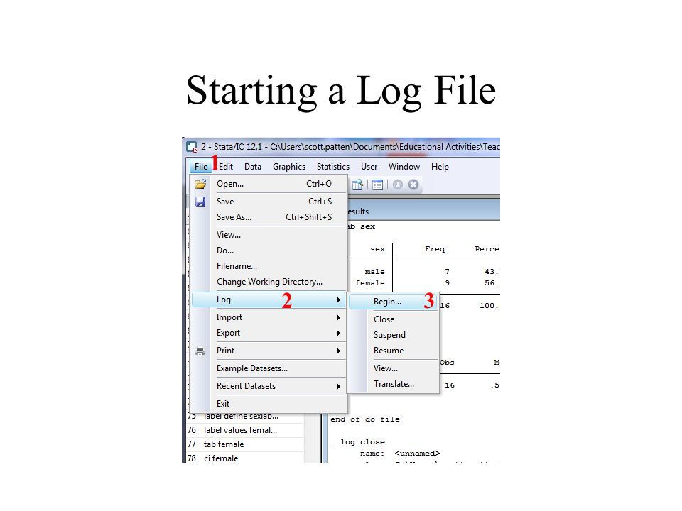 Starting a Log File 1 23