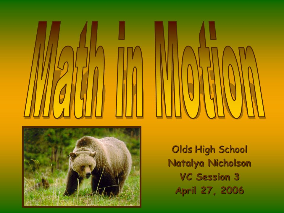 Olds High School Natalya Nicholson VC Session 3 April 27, 2006