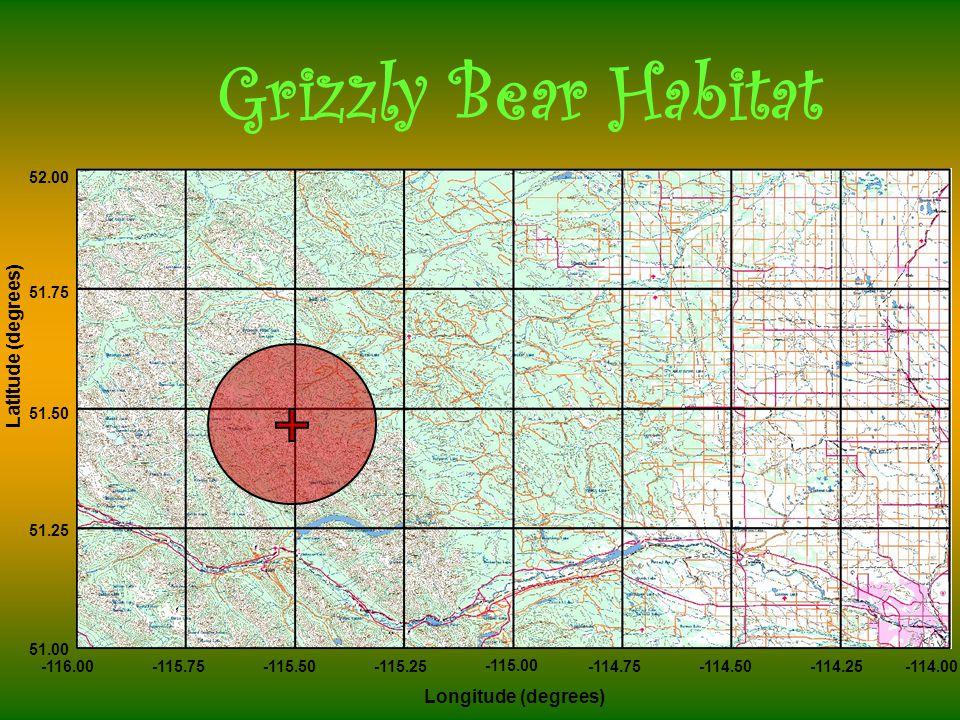-116.00-115.75-115.50-115.25 -115.00 -114.75-114.50-114.25-114.00 52.00 51.75 51.50 51.25 51.00 Longitude (degrees) Latitude (degrees) Grizzly Bear Habitat
