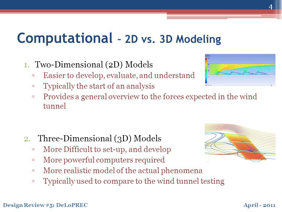 April - 2011Design Review #5: DeLoPREC 4 Computational – 2D vs.