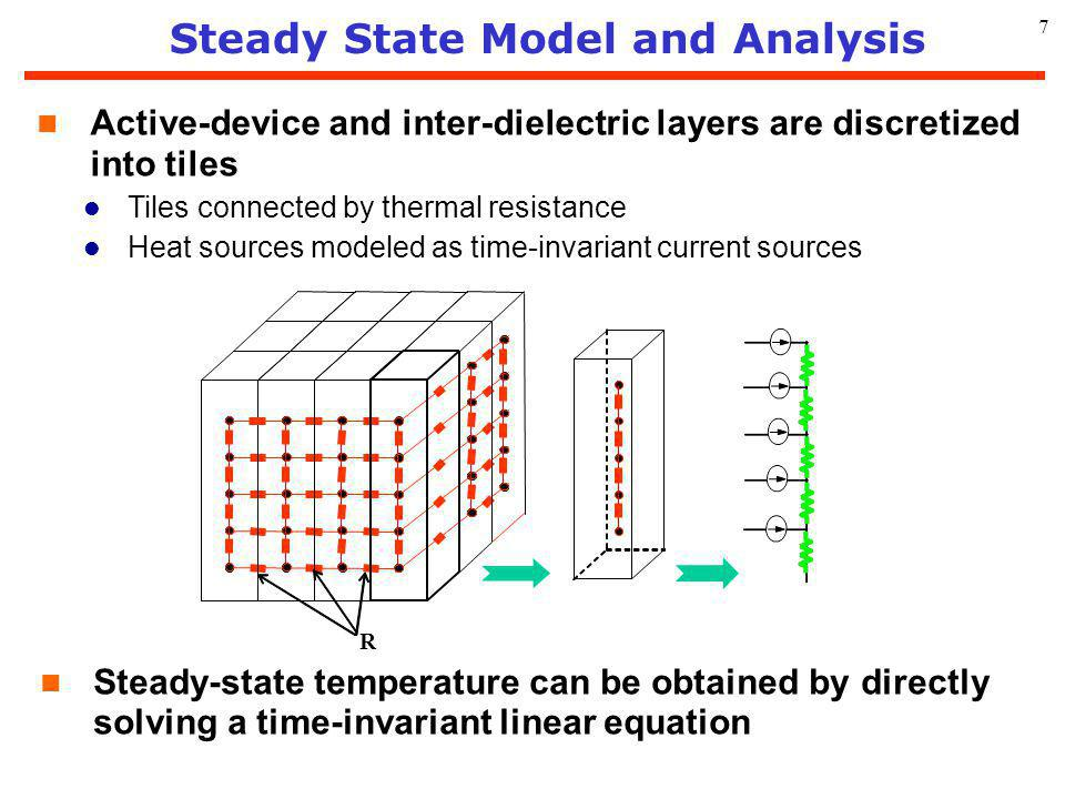 7 Steady State Model and Analysis n Steady-state temperature can be obtained by directly solving a time-invariant linear equation R n Active-device an