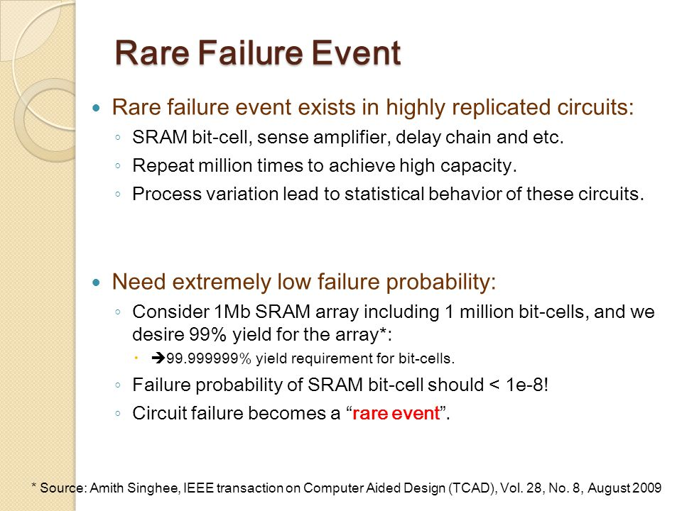 Rare Failure Event Rare failure event exists in highly replicated circuits: ◦ SRAM bit-cell, sense amplifier, delay chain and etc.
